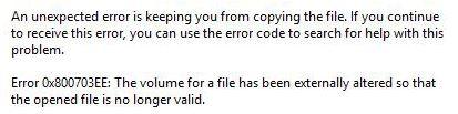 0x800703EE Error with External Storages