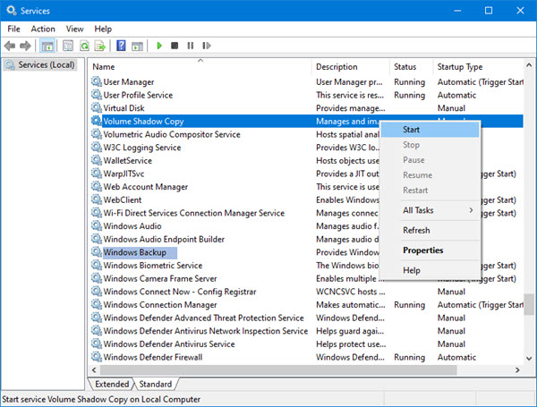 Check the Volume Shadow Copy and Windows Backup services