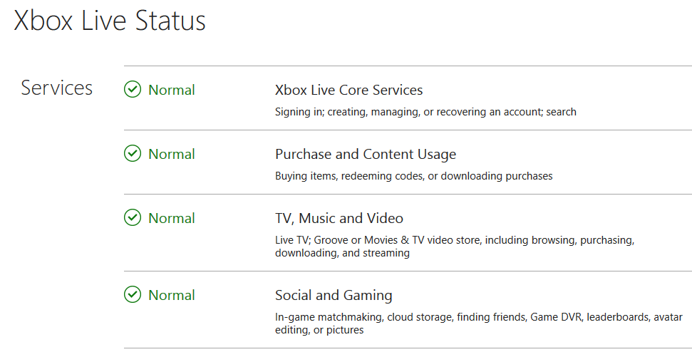Check the status of the Xbox Live services