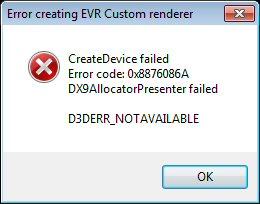 D3DERR_NOTAVAILABLE Error Code 0x8876086A