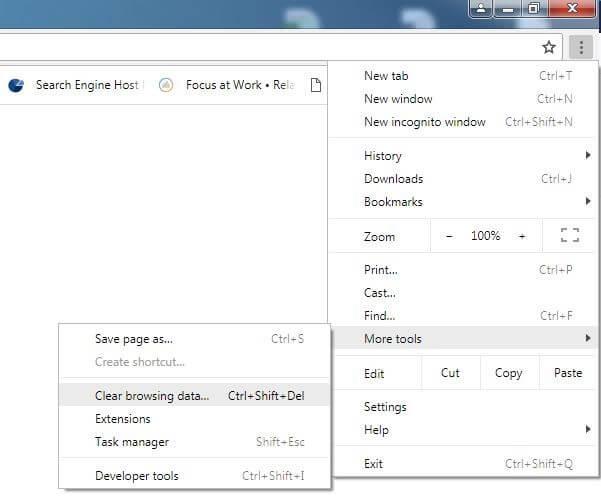 Delete browser cache