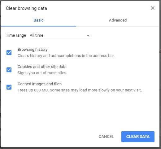 Delete browser cache1