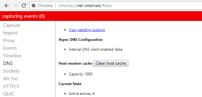 ERR_NAME_NOT_RESOLVED - Flush Chrome's DNS cache - Step 1