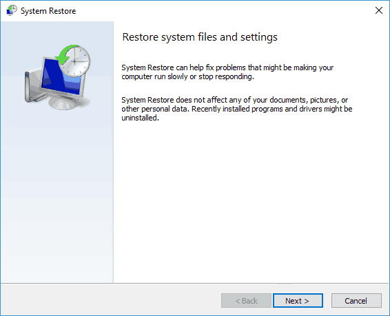 Emerging issue 70008 - Perform System Restore - Step 3