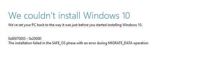Error Code 0x80070003 - 0x2000D