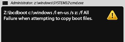 Failure when trying to copy startup files