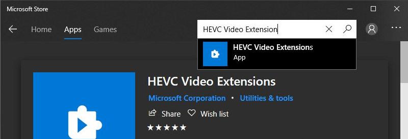 Installing the HEVC Video Extender Repair