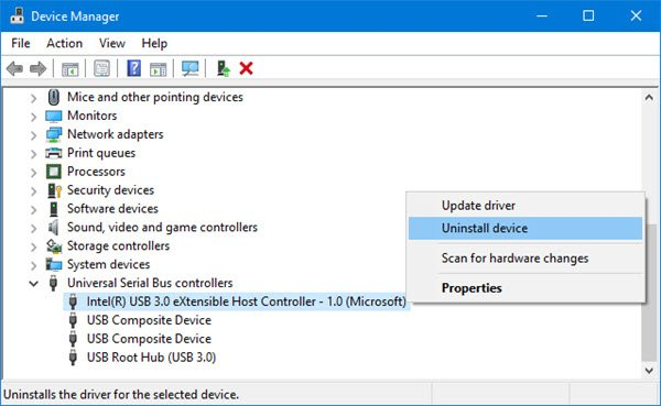 Reinstall the USB controller drivers