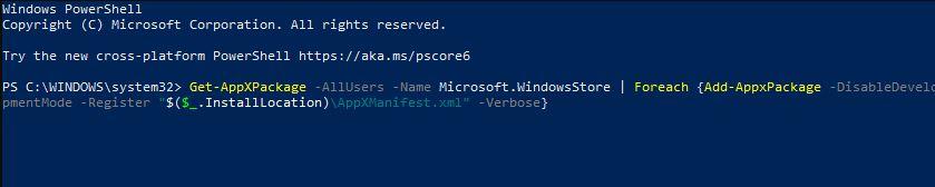 Resetting MS Store via PowerShell