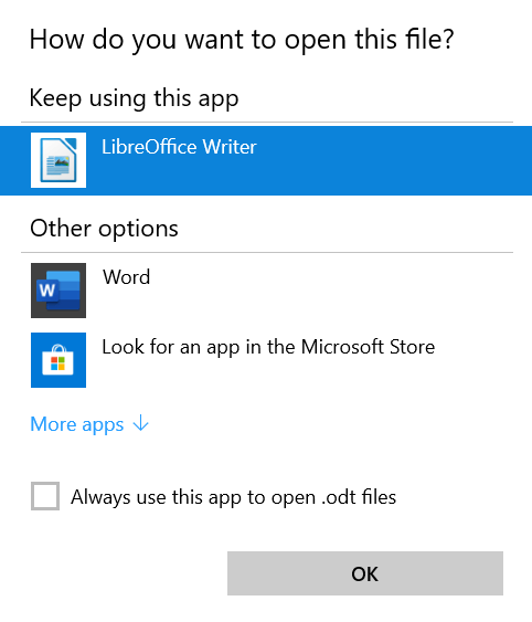 Select Notepad, and then select Word as the default file type - step 1 to 6