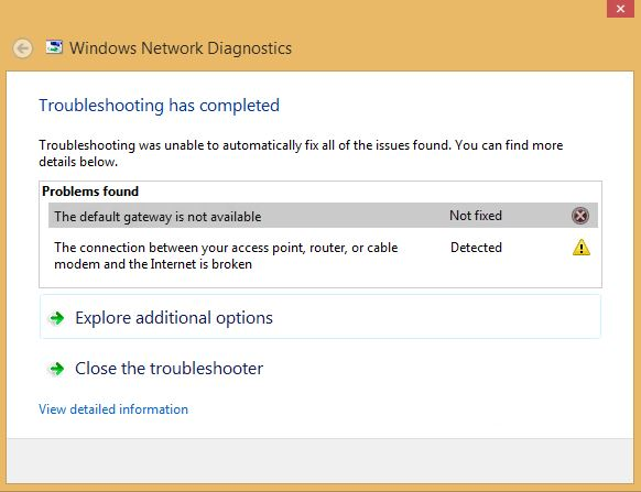 Default gateway not available in Windows 10
