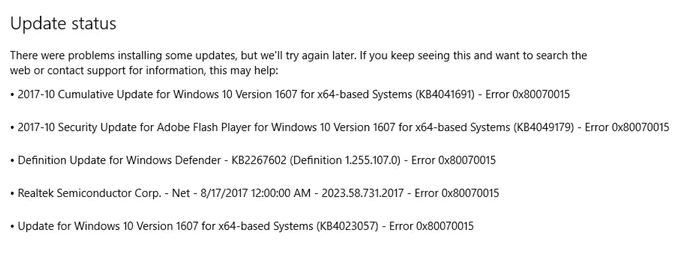 What does error code 0x80070015 mean
