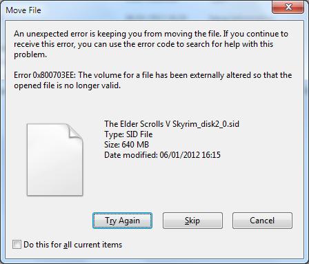 What is error 0x800703EE