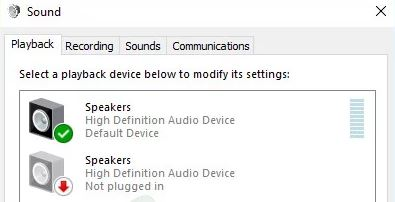 playback devices do not display headphones