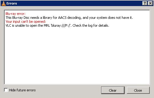 Fixed: This Blu-ray disc requires the library for AACS decoding