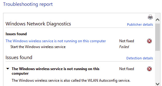"Fix the ""Windows wireless service not working on this computer"" error"