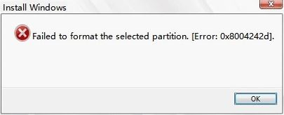 error 0x8004242d - Could not format selected partition