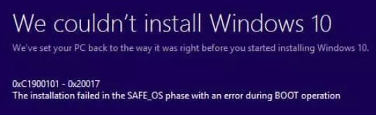 How to fix 0xC1900101 – 0x20017: Installation failed in SAFE_OS phase with error during BOOT operation