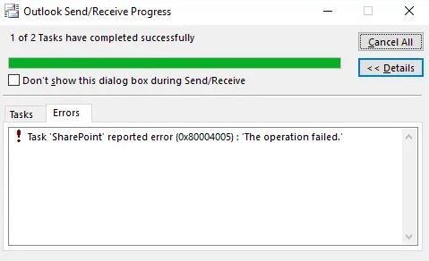 Error 0x80004005 Failed Operation in Outlook