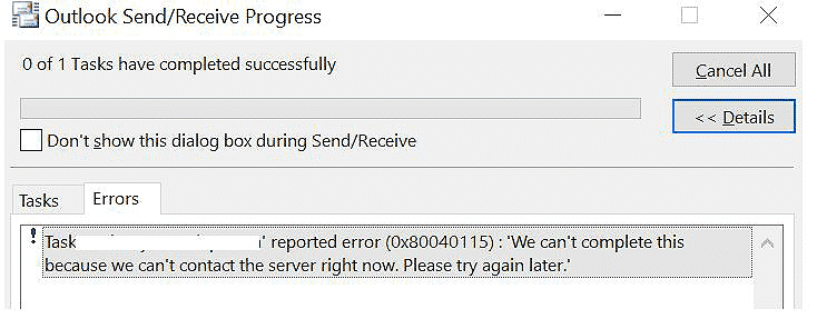 How to fix the Microsoft Outlook error 0x80040115