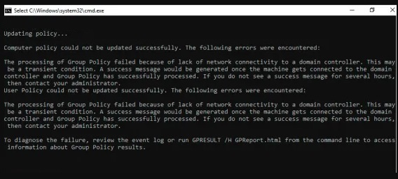"What causes the message ""Processing of Group Policy failed due to no network connection to the domain controller"""