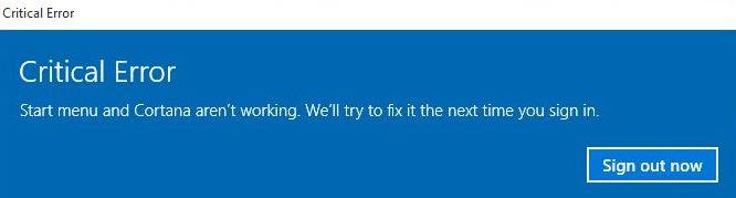 Start menu not working on Windows 10 May 2020 Update Version 2004