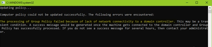Processing of Group Policy failed due to no network connection to the domain controller