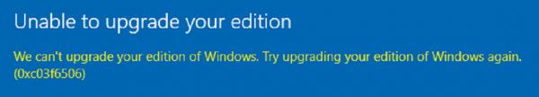 How to fix the Windows 10 activation error 0xc03f6506