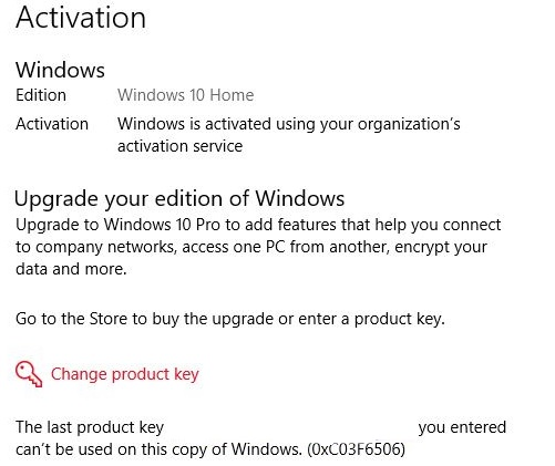 What is the cause of Windows 10 activation error 0xc03f6506