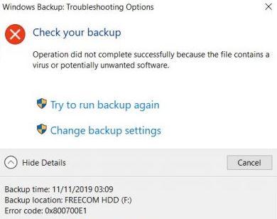 Windows Backup error code 0x800700E1