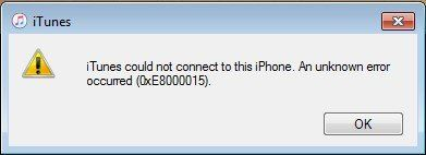How to fix the iTunes error 0xe8000015