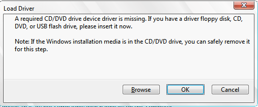 """Fix the """"A Required CD/DVD Drive Device Driver is Missing"""" error message when installing Windows 7"""