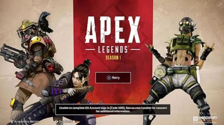 What causes the error code 100 in Apex Legends?