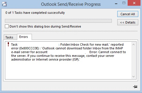 How to fix the Outlook error 0x800CCC0E in Windows 10