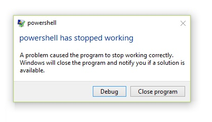 """How to fix """"Powershell has stopped working"""" in Windows"""