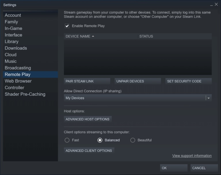How to solve a problem where the Steam Remote Play doesn't work