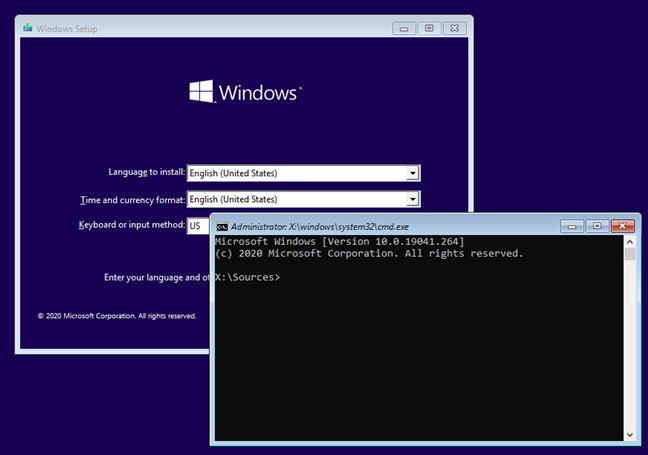 How to open the command line when Windows 10 doesn't start
