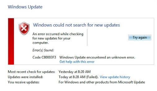 How to Solve Windows Update error C80003F3
