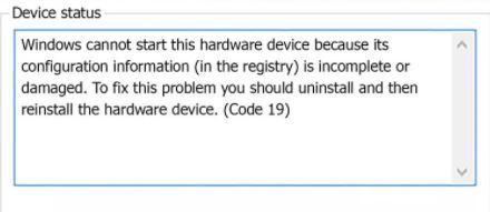 """How to fix error code 19 """"Cannot start this hardware device"""" in Windows 10"""