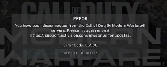 How to Troubleshoot error code 65536 in Call Of Duty (COD) Modern Warfare